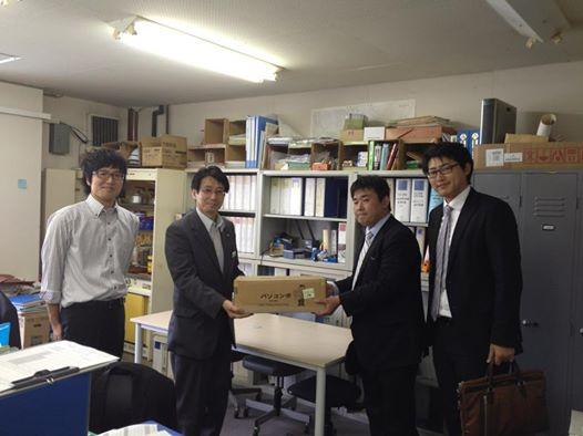 """昨日""""ITで日本を元気に!""""活動で気仙沼市役所様へノートPCを4台寄贈してきました。"""